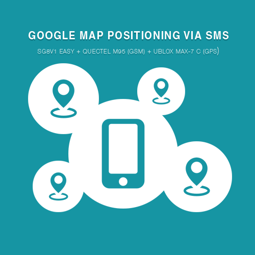 Google Map positioning via SMS using the SG8V1 Easy + Quectel M95 (GSM) + Ublox MAX-7 c (GPS)