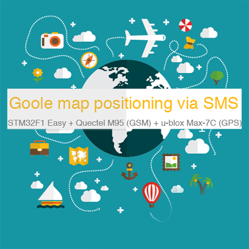 Google Map positioning via SMS using the STM32F1 Easy + Quectel M95 (GSM) + Ublox MAX-7c (GPS)